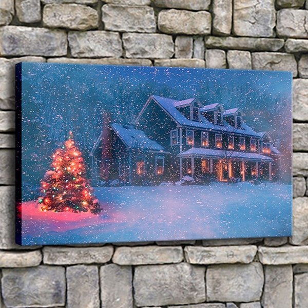 Canvas Painting Living Room Decor 1 Piece Lightning Tree Snowfall Picture Home Print Snowy Christmas House Poster Wall Art Frame