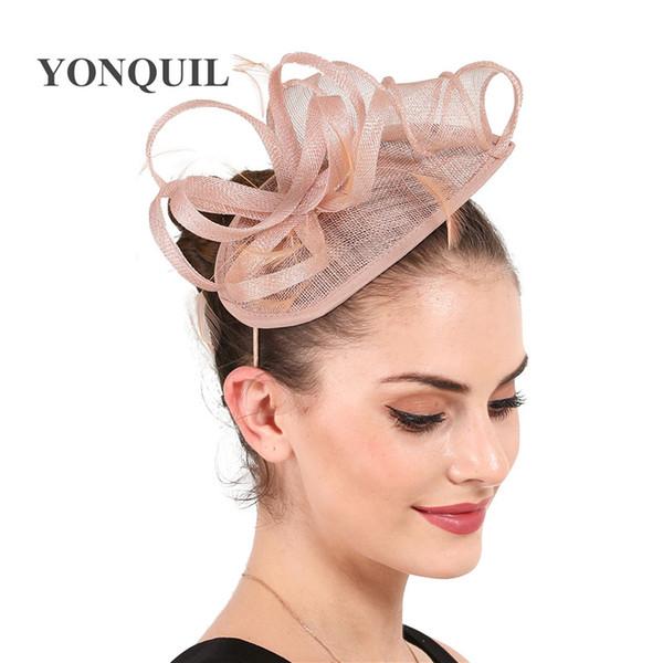 Nouvelle couleur magnifique T-stage Montrer fascinateur chapeaux femmes mode sinamay boucles fascinators chapeaux dames fantaisie plumes chapellerie