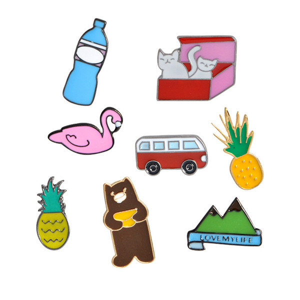 Tiny Cartoon Brooch Bear Flamingo Bus Bottle Cat in Box Pineapple Badges Hard Enamel Lapel Pin Collection Jewelry Gift Bag Jacket Accessory