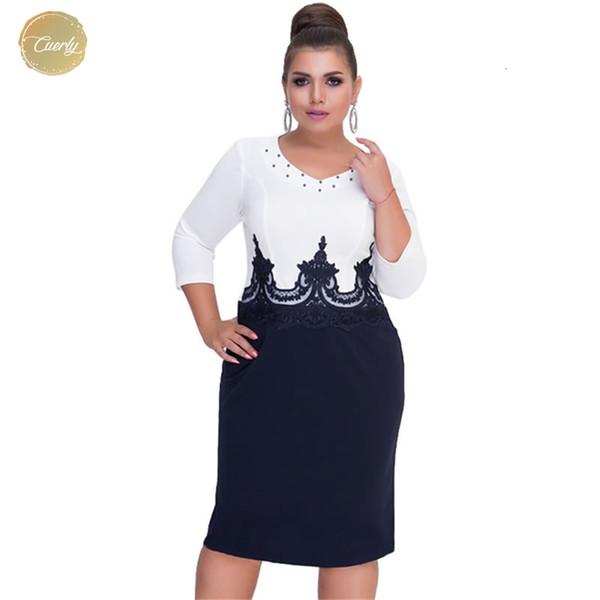 Más el vestido de las mujeres del tamaño ropa de verano ajustado de tamaño grande de remiendo 5Xl 6XL Señora encaje de trabajo informal vestidos de las mujeres
