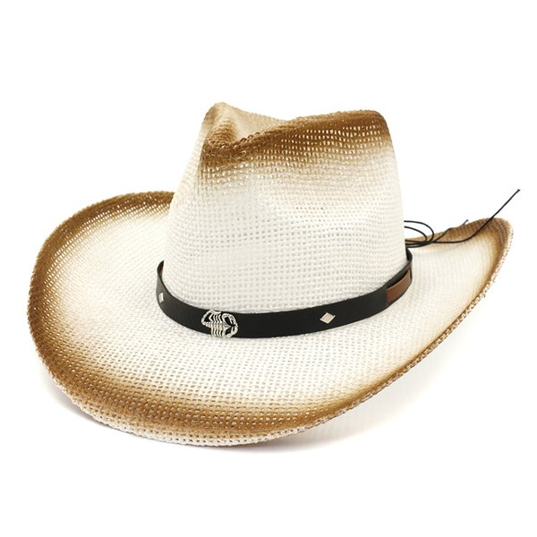 Brown Paint Spraying Paper Straw Cowboy Hats Belt Metal Scorpion Decorate Jazz Panama Sun Visor Cap Beach Sunhat for Women Men