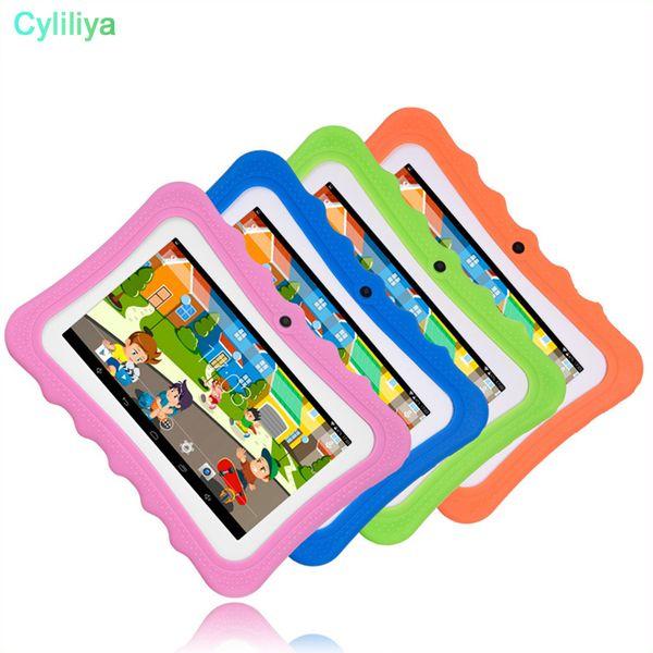 top popular 2018 Kid Educational Tablet PC 7 Inch Screen Android 4.4 Allwinner A33 Quad Core 512MB RAM 8GB ROM Dual Camera WIFI Kids Tablet PC MQ50 2021