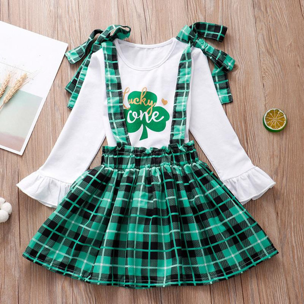KONIGHT St Patricks Day Kids Toddler Baby Girls Dresses Outfit Lucky Clover Print T-Shirt+Ruffled Strap Skirt Clothes Set