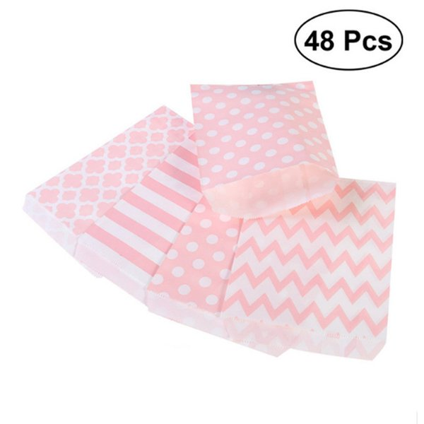 Striped Polka Dot Chevron Wedding Candy Bar Bags Party Gift Bags Paper Bag Wedding Party Favor Gift Bag C18112701