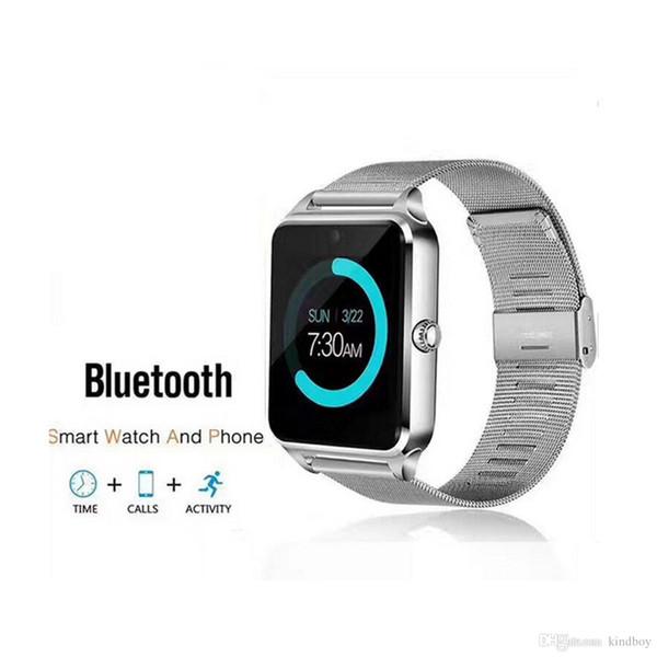Bluetooth Smart Watch Z60 Orologi intelligenti wireless Acciaio inossidabile per supporto Android IOS SIM TF Card Tracker Fitness Tracker Spedizione DHL