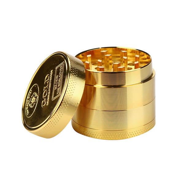 4layer Gold Herb Tobacco Grinder Зин сплава 40мм Herbal специй Grinder дыма Металлическая Дробилка курительная трубка Принадлежности Дымовой Cutter