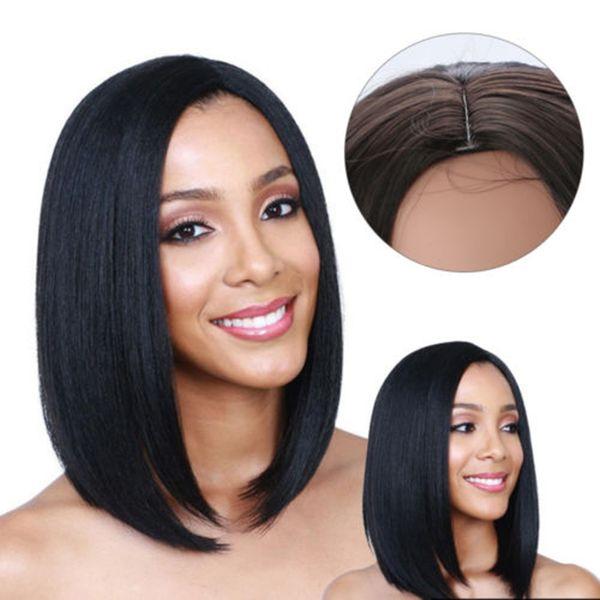 1 pc Naturel Courte Droite Bob Style Perruque De Cheveux Cosplay Épais Lisse Complète Perruque Naturel Noir Couleur Hommes Femmes Cheveux Extension Outils SH190727
