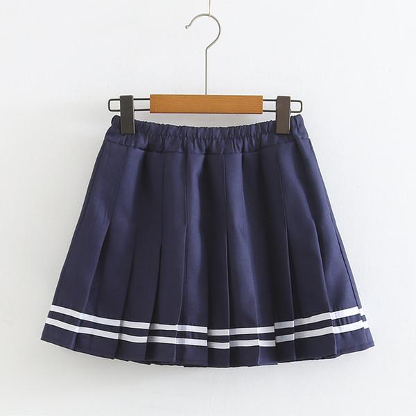 Neue Art des Sommers Marine College-Stil Rockfrauen elastische Taille A-Linie Kleid Faltenrock-Stil Rock S27846