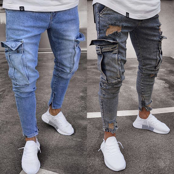 New Stretch Mens Pocket Stitching Design Slim Straight Jeans Fashion Knee Hole Zipper Fork Skinny Trousers for Men Plus Size