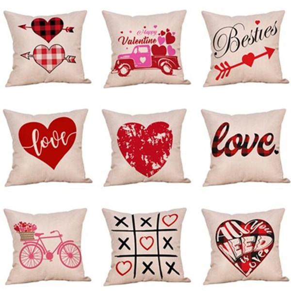 2019 valigetta per il cuscino di San Valentino 23 colori a strisce plaid lettera stampa amore copriletto copridivani sofà copertura del cuscino casi casa decori di san valentino