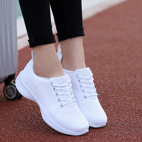 White Fly Line Jogging Shoes for Women Outdoor Breathable Sneakers Female Spring Autumn Sport Running Shoes Travel Tennis #165688