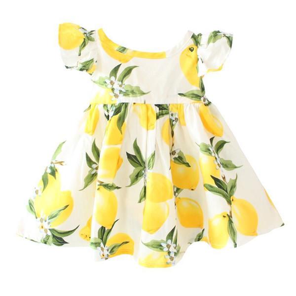 Shij vestido de los cabritos Nueva DG Imprimir limón Volantes sin respaldo de algodón ropa de bebé