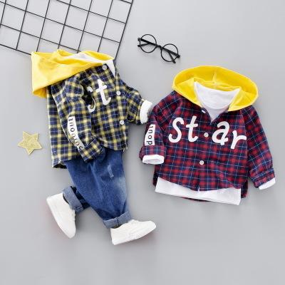 2019 casual boy baby shirt hooded sweater toddler factory direct children's clothing new Korean 1-4 years old 2pcs kids wear casual clothes
