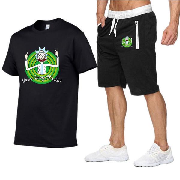 Les hommes nouvel été haute qualité définit t-shirt + shorts hommes marque vêtements deux pièces costume survêtement mode casual t-shirts Funny suit