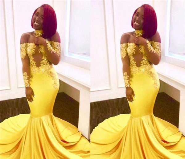 2019 Yellow African Mermaid Prom Dresses Long Lace Off Shoulder Long Sleeves See Through Sweep Train Formal Evening Party Wear Gowns