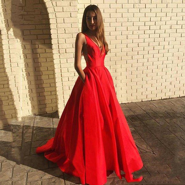 Sexy Red Illusion con scollo a V in raso abito da ballo formale Prom Dresses Back Party abito da sera con tasche vestido de formatura