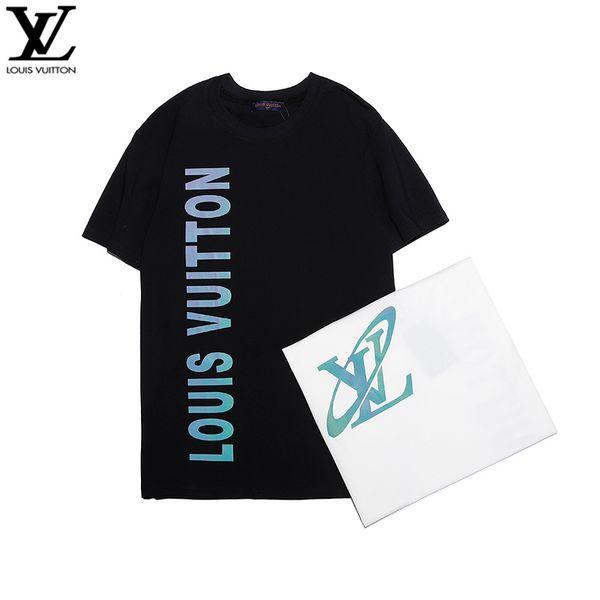 2019 luxuosa do verão novos homens e camisa em torno do pescoço de impressão T-shirt de mangas curtas A021 frete grátis das mulheres