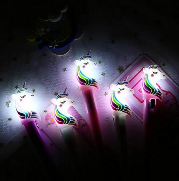 Cosas Kawaii Unicornio Luz Sílice Cabeza Gel Pluma Novedad Pluma Neutral Para Escribir Regalo de los Niños Material Escolar Oficina Encantador Papeterie GB626
