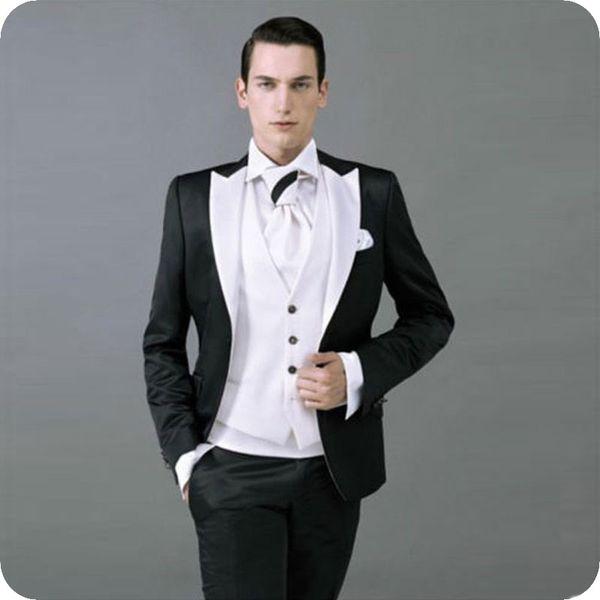 Custom Made Black Men Suits Groom Wedding Tuxedo Peaked Lapel Slim Fit Terno Masculino Best Man Blazer 3Piece Coat Pants Vest Costume Homme