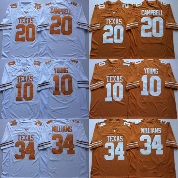 9040ac3d5 Ncaa vintage texa longhorn college football jer ey 10 vince young 34 ricky  william 20 earl