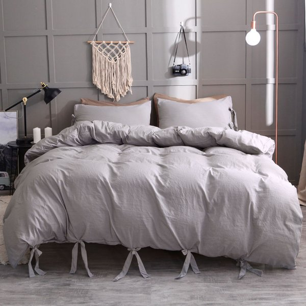 Luxury 2PCS OR 3PCS Bedding Sets Duvet Cover Pillowcase Solid Bedspread Coverlet Pillow Case Sheets Wedding Gift Home Textile