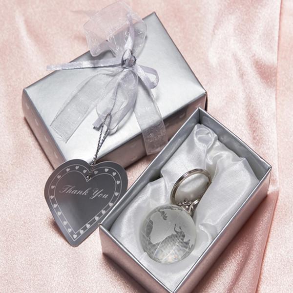 LED Light Crystal Glass Globe Keychain Football Basketball Golf Key Ring Bridal Shower Favor Wedding Party Gift For Guest