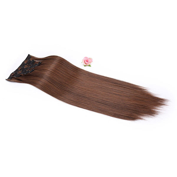 """2019 Beauty 24"""" 16 Colors Silky Straight Synthetic Clip In Hair Extensions For Women fashion in style"""