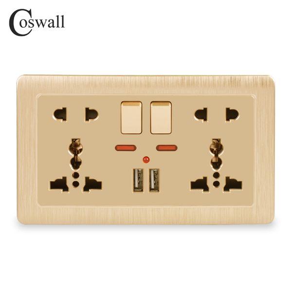 벽 전원 소켓 더블 범용 5 홀 전환 콘센트 2.1A 듀얼 USB 충전기 포트 LED 표시기 146mm * 86mm 골드