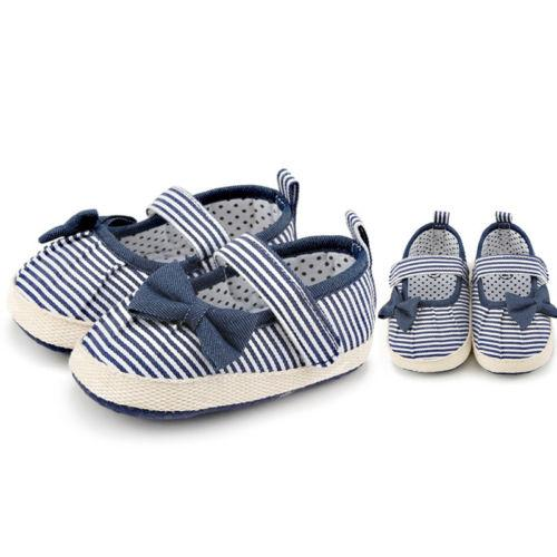 2019 Newborn Baby Girl Toddler Soft Crib Shoes Cute Bow Striped Princess Shoes Sneakers Casual All Seasons Size 0-18 Months