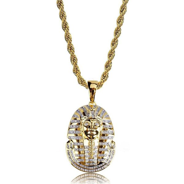 Egypt Pharaoh Pendant Necklaces Luxury Full Diamond Pharaoh Necklaces 18K Gold Plated Chains Ancient Charms Unisex Fashion Necklace