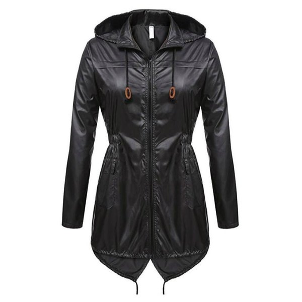 Women Rain Jacket Waterproof with Hood,❤️ Outdoor Plus Size Front Zipper Button Windproof Raincoat White