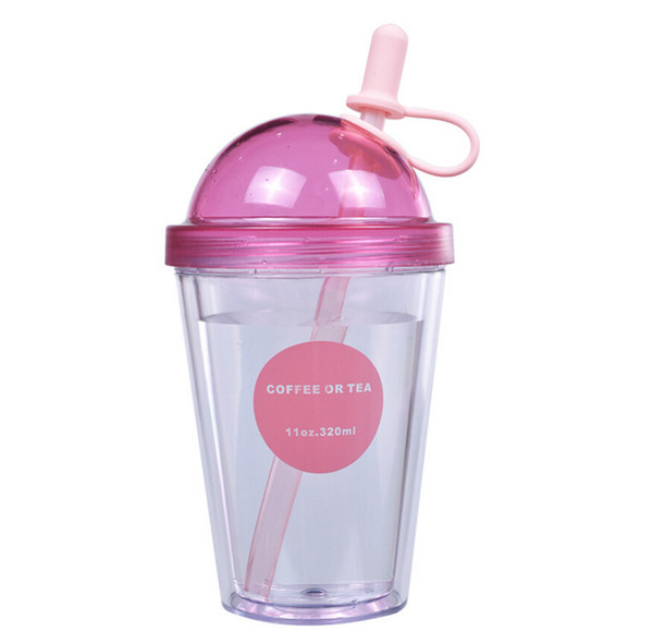 double milk tea cup student couple juice cups portable cups Creative plastic cup adult sippy cup 320ml