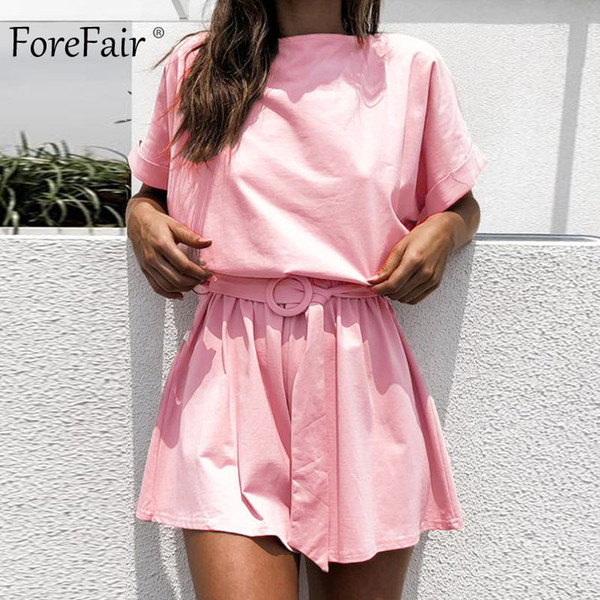 Forefair Linen Shorts Jumpsuit Summer Wide Leg Elastic Waist Short Sleeve Lace Up Playsuit Plus Size Open Back Overalls Women Y19060501