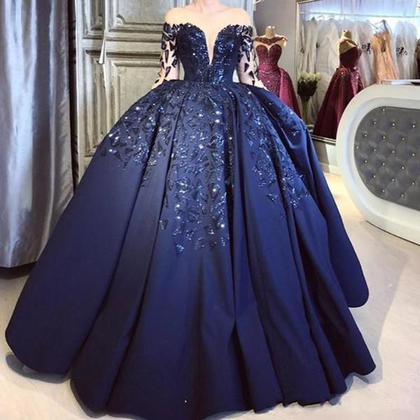 Elegante azul marino bola de satén vestido de fiesta de quinceañera mangas largas transparentes lentejuelas brillantes Puffly más tamaño formal de la tarde del desfile Vestidos de fiesta