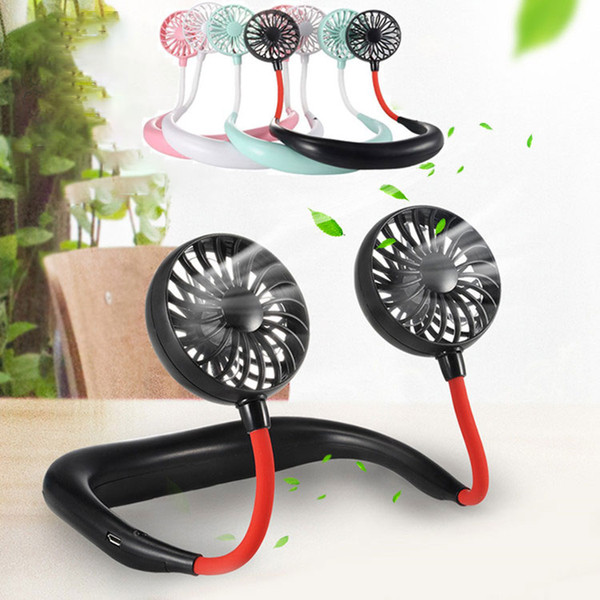 best selling Portable USB Rechargeable Neckband Dual Cooling Mini Fan Lazy Neck Hanging 3 Speed Sports Outdoor Travel