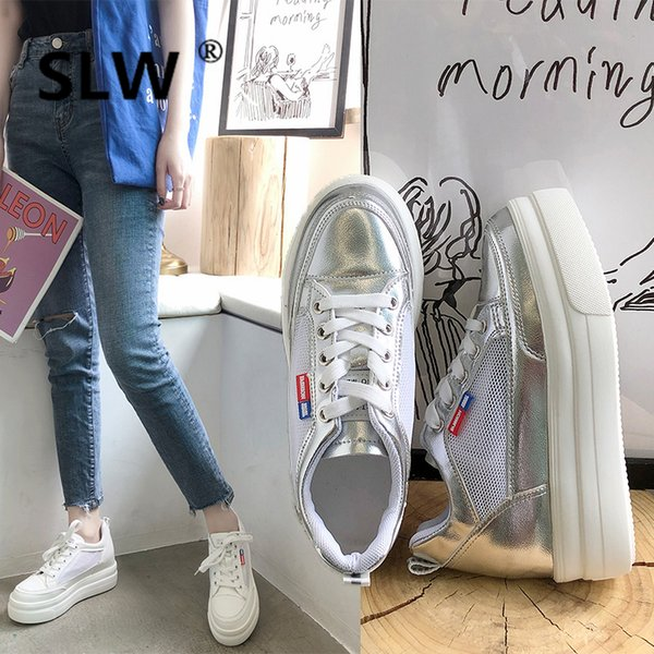 Ballet Flats Platform Shoess Ladies' Footwear Shallow Mouth All-Match Round Toe Increas Height Creepers Solid 2019 Fashion