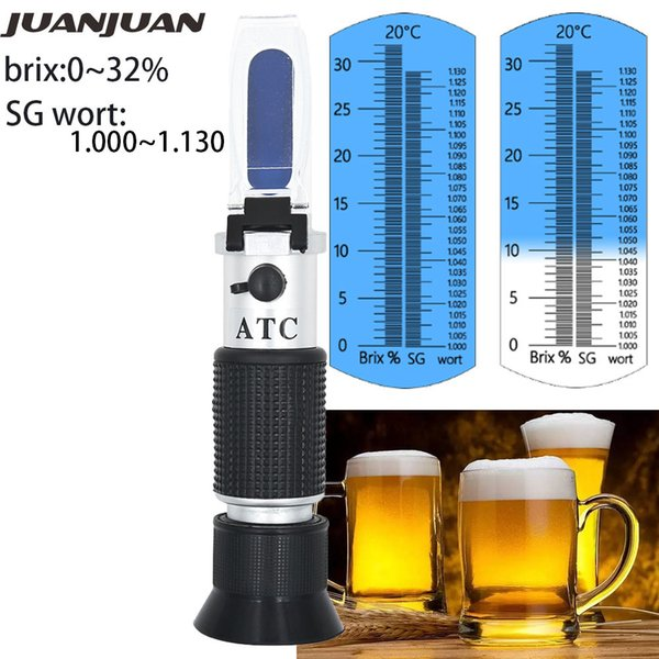 efractometers Beer Wort Refractometer Dual Scale - Specific Gravity 1.000-1.130 and Brix 0-32% Replaces Homebrew Hydrometer Sugar Meter 3... on Sale