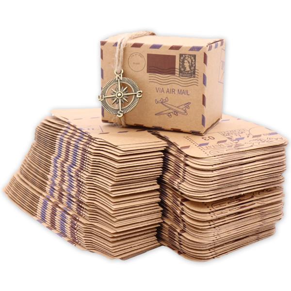 Вечеринка по случаю праздника Подарочные коробки Сумки 50шт. Новый дизайн марки Свадебная винтажная коробка конфет Шоколадная упаковка Подарочная коробка Крафт Свадебные сувениры и подарки
