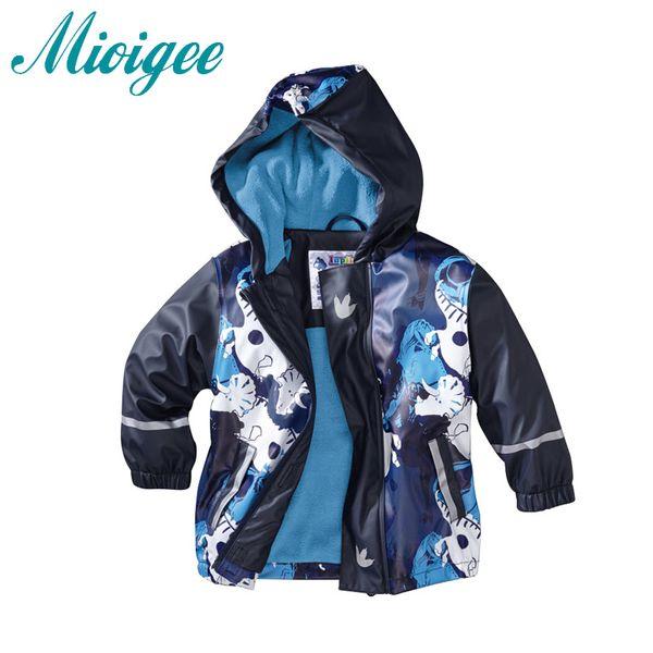 Mioigee Children Outerwear 2017 boys jacket winter kids leather plus velvet raincoats poncho waterproof windproof outdoor jacket