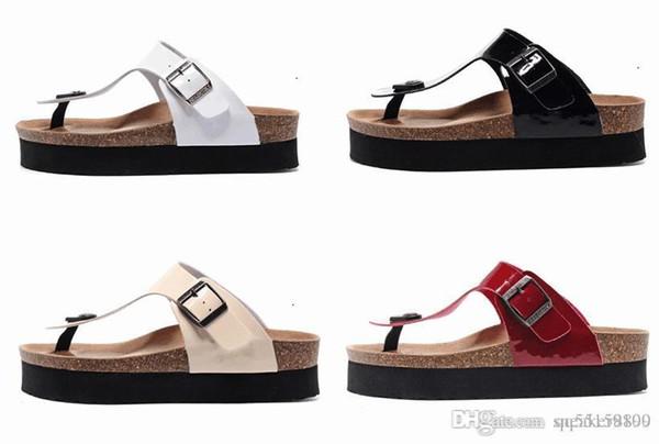 Venta caliente Gizeh verano Mujeres y hombres Sandalias planas para el cuidado de la salud Zapatillas de corcho Unisex zapatos casuales de impresión colores mezclados tamaño 35-46