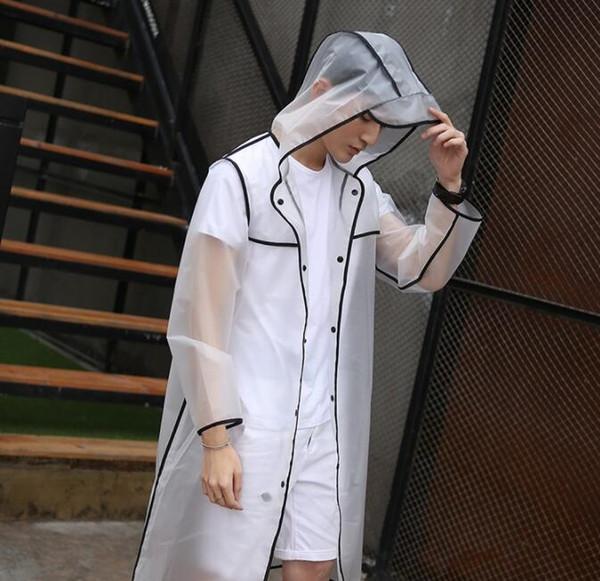 Transparent Raincoat Hooded Women Girl Rain Coat Long Jacket Waterproof Outdoor Poncho Travel Rainwear 3 color KKA6502