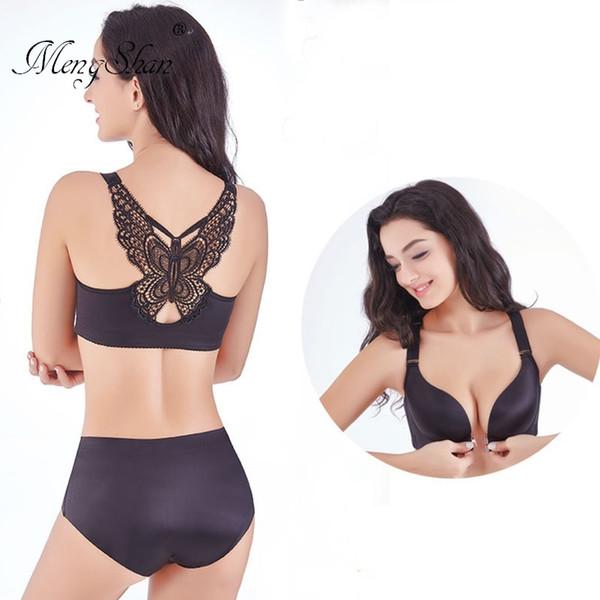Large Front Button Fat MM Bra Suit Sexy beauty Butterfly Leopard Print big size bra set lingerie femme Underwear Suit Woman