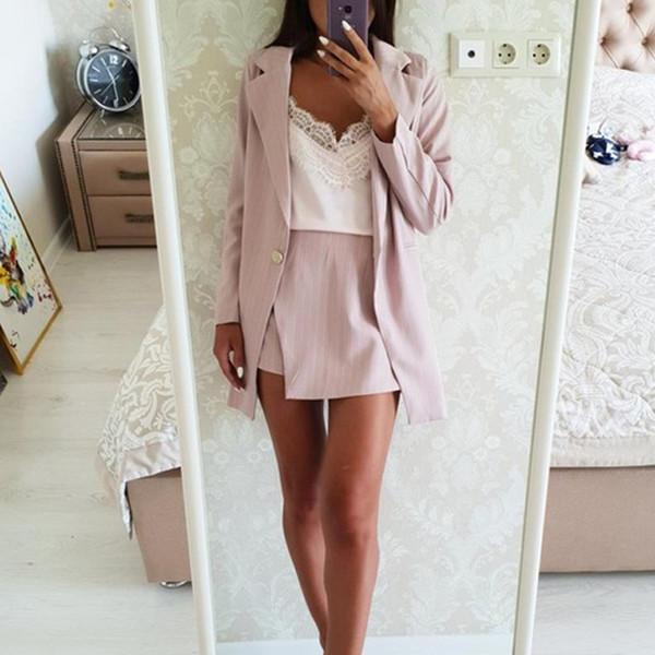 Moda Feminina Saia Ternos Um Botão Entalhado Listrado Blazer Casacos e Slim Mini Saias Duas Peças OL Define Roupas Femininas 2019 Q1904024
