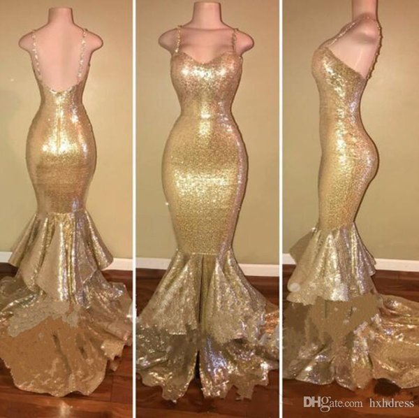 2019 New Gold Spaghetti Straps Sequined Mermaid Prom Dresses Layered Ruffles Beaded Formal Party Prom Evening Dress AW352