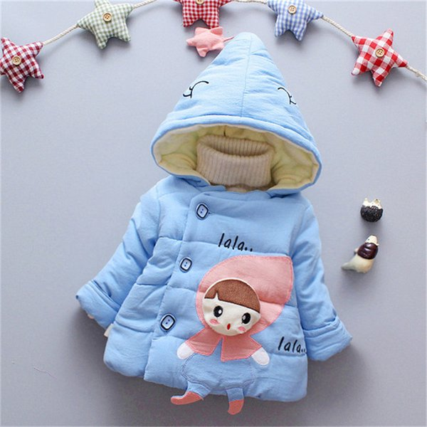 good quality baby girls coats jackets winter warm infant children cartoon hooded down parka toddle fleece velvet outerwear snowwear