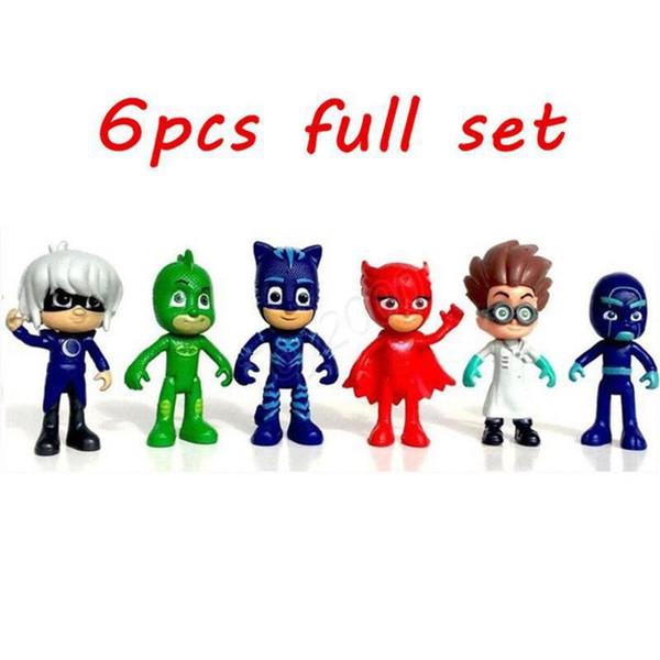 Мстители pjmasks Рисунок 6 шт. / компл. 8-9 см Pj маски персонажи Catboy Owlette Gekko плащ фигурки детские игрушки подарок пластиковые куклы A001