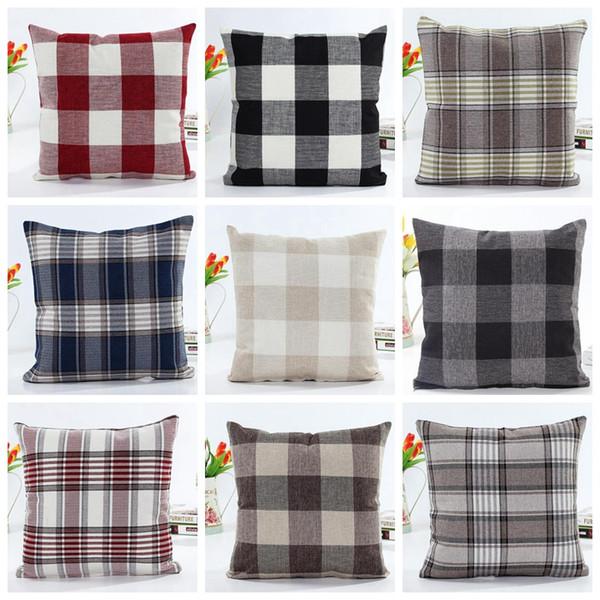 Xadrez travesseiro caso padrão de verificação fronha Xmas Natal quadrado fronhas Tartan Design de linho de algodão cama têxteis lar GGA1447