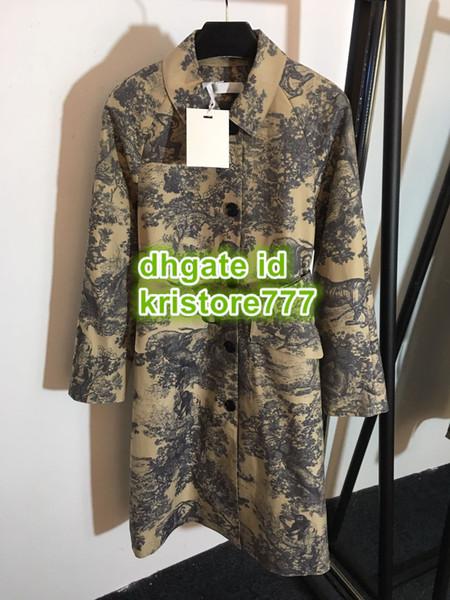 2019 Cappotti con stampa animalier della giungla delle donne Cappotto con tunica a taschino doppio petto con risvolto normale S-M-L 19