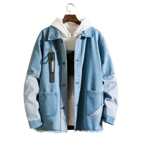 mens fashion casual denim jackets oversize lapel neck coats frayed vintage pocket male street loose clothing