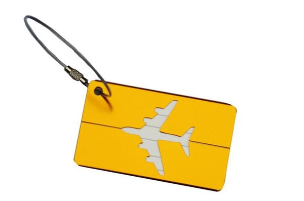 Designer- Plane Luggage ID Tags Boarding Travel Address ID Card Case Bag Labels Card Dog Tag Collection Keychain Key Rings mix colors